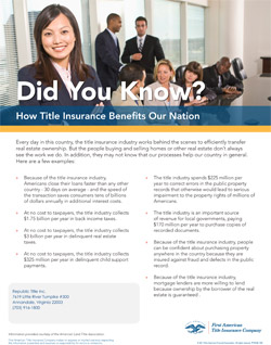How Title Insurance Benefits our Nation